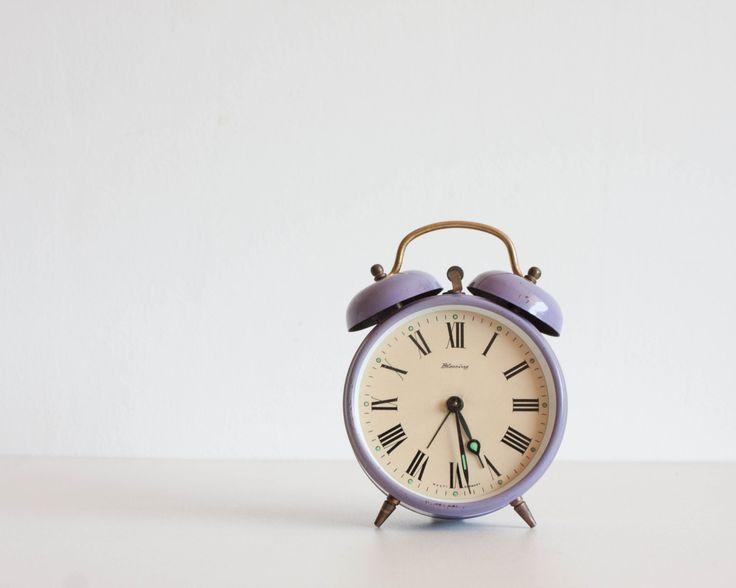 German Alarm Clock, Blessing Desk Clock, Radiant Orchid Purple Clock, Pastel Lavender, Pantone 2014, Autumn by TheThingsThatWere on Etsy