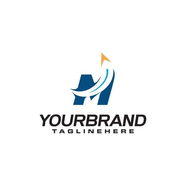 الحرف الأولي م الشعار مع حرف شكل السهم ب السفر قالب شعار الأعمال Monogram Logo Design Minimal Logo Design Monogram Logo