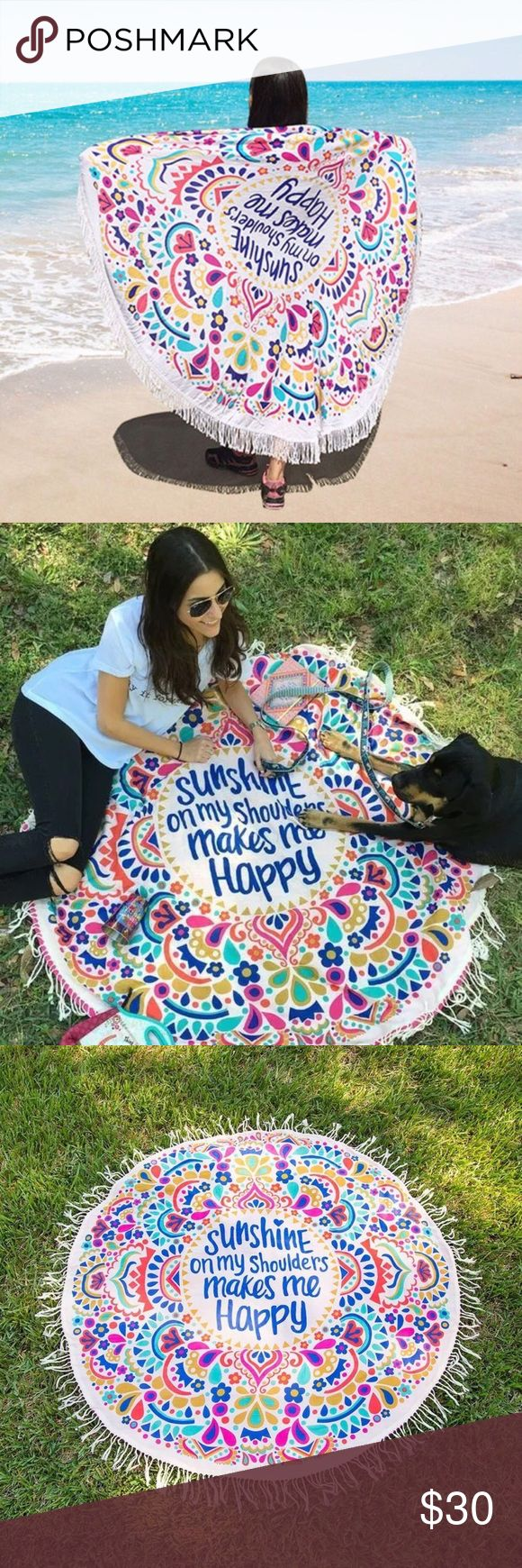 """ROUND BEACH TOWEL/THROW, SUNSHINE ON MY SHOULDERS ☀️""""SUNSHINE ON MY SHOULDERS MAKES ME HAPPY""""; COTTON BEACH THROW, YOGA MAT, SARONG, SHAWL OR WALL TAPESTRY. ROUND TOWEL, FESTIVAL THROW, PICNIC BLANKET. SUPER VERSATILE. WRAP IT AROUND YOUR WAIST AS A SARONG, THROW IT OVER YOUR SHOULDERS FOR THE PERFECT SHAWL, OR LAY IT ON SAND FOR THE PERFECT BEACH TOWEL OR BEACH BLANKET. SIMILAR TO THOSE MADE BY VS PINK. LIGHTWEIGHT AND EASY TO THROW IN YOUR BAG. 100% COTTON WITH COTTON FRINGE. NOT MADE OF…"""