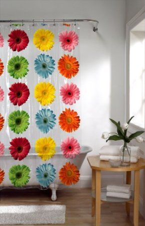 Amazon Maytex Gerbera Daisy PEVA Shower Curtain Bedding Bath