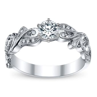A beautiful engagement ring with stunning leaf designs and a vintage tough. Complete your perfect engagement ring with an eco-friendly diamond of your choice. All set in luminous 14K white gold.  14Kt White Gold $1,095.00 With Complimentary Cubic Zirconia