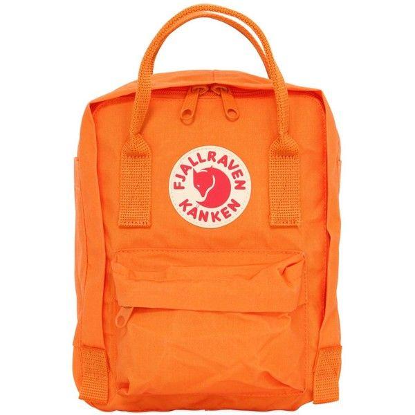 Fjall Raven Women 16l Kanken Nylon Backpack ($110) ❤ liked on Polyvore featuring bags, backpacks, orange, padded bag, orange backpack, detachable backpack, fjallraven backpack and fjällräven