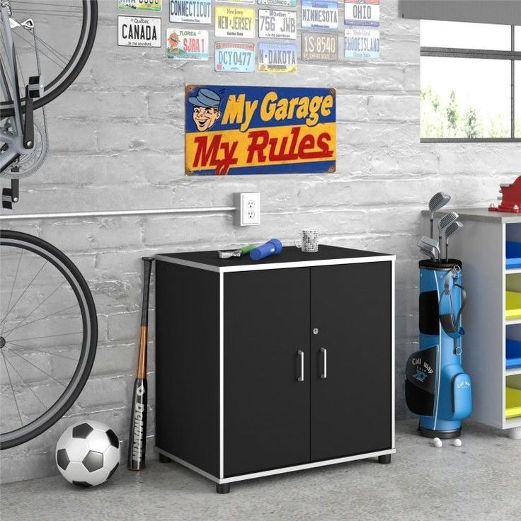 Garage Storage Cabinet Tools Organizer Shelves Doors Work Surface Cupboard Black #GarageStorageCabinet