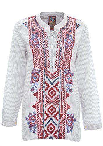 3J Workshop by Johnny Was White Alina Laceup Henley Shirt (Medium)