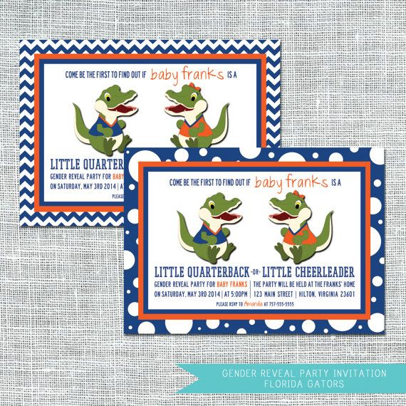 Florida Gators Gender Reveal Party Invitation   $12.00   Digital File   Amanda Franks Designs