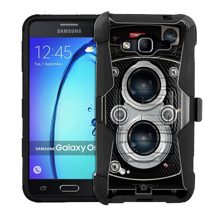 Samsung Galaxy On5 Armor Hybrid Case - Black Twin Reflex Camera