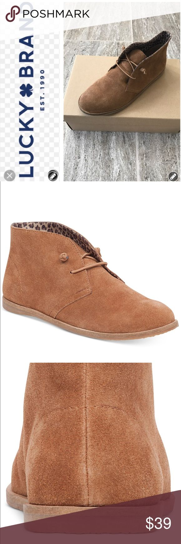 NWT & NIB Lucky Brand Ashbee Desert Boots NWT & NIB Lucky Brand Ashbee Boots are featured in Honey. This stylish Bootie has a casual silhouette and a work day friendly flat sole. Suede Upper with man made nylon laces. Lightly padded footbed. Material lining. Rubber outsole. Round toe. Lace up closure. Super Cute! Smoke Free Home. Please Note that the size 9 is in a box that is marked size 10. The style, color and brand is accurate just not the size. Boot is M width and runs truer to size…