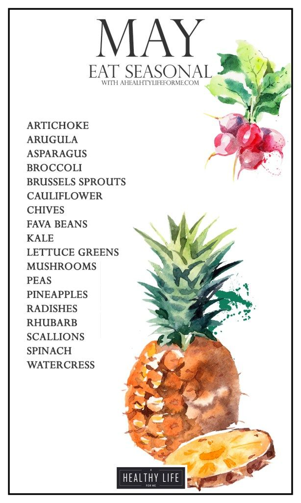 Seasonal Produce Guide for May is full of spring garden favorites. Radishes, lettuce, and peas are ready to be pulled and picked. Don't miss out on the seasonal Pineapples from Hawaii which are the sweetest in my opinion. Spring is officially here people, and the farmers market's are filling up with all those gorgeous spring vegetables. - A Healthy Life For Me
