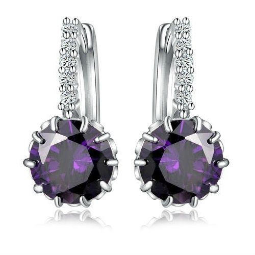 Silver Dangle Earrings With Zirconia (PURPLE)