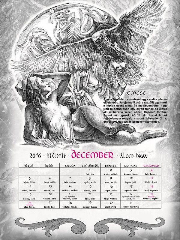 Naptár, Nimród népe naptár - 2016, Turánia