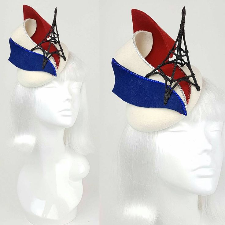 I forgot to share this fascinator i made a little while ago... My customer asked me to make her something inspired by France... that was the whole brief. So i made a little black glitter Eiffel Tower and hand blocked the sections of the French flag... i think it turned out pretty elegant and sculptural ^.^ ❤ #paris #france #french #milliner #millinery #hat #headpiece #fascinator #fascinators #eiffeltower #glitter