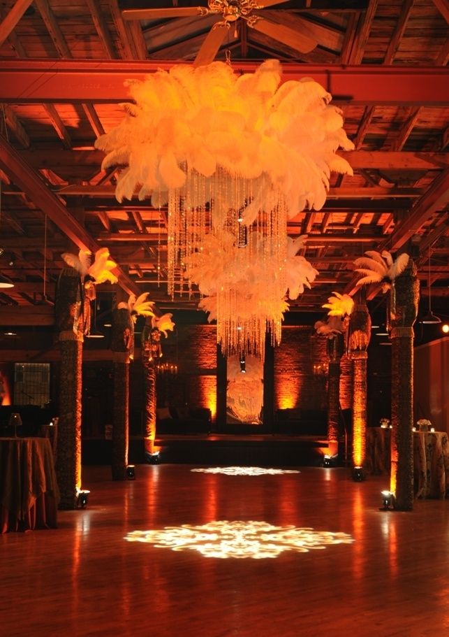 masquerade ball - stunning feathered chandeliers!!