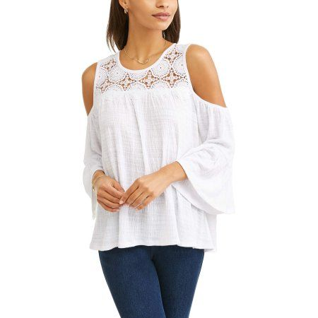 5669ecd76849f Time and Tru Women s Long Sleeve Lace Cold Shoulder Peasant Top ...