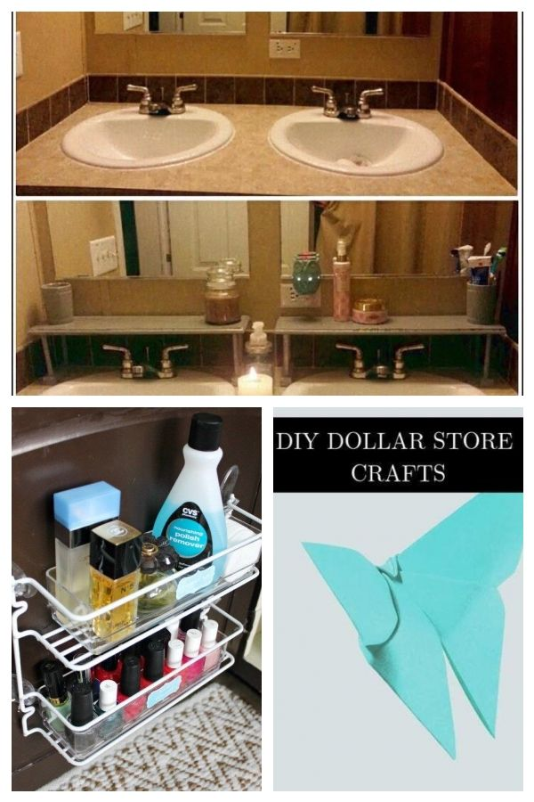 Over Sink Shelves Made From 5 Family Dollar Store Brown Wooden