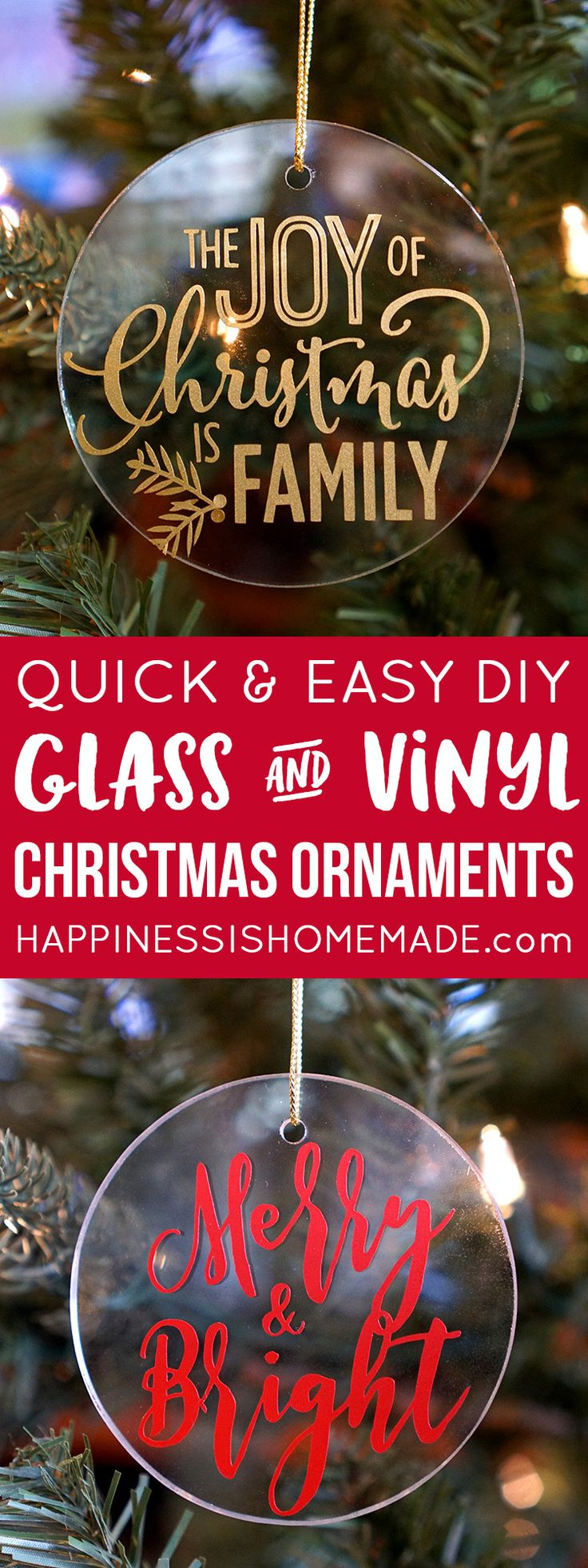 These glass and vinyl Christmas ornaments are SO quick and easy to make, and they make a great homemade gift idea for friends, family, teachers, and more!