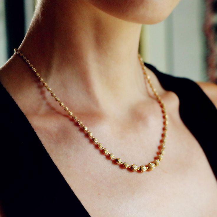 """Jadau (Short)"" 22K Yellow Gold Necklace - Plukka - by Madhuri Parson"