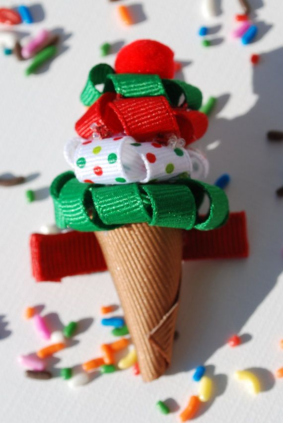 Ice Cream Cone Hair Ribbon Handmade Boutique Bow Hair by kimwes12 (Etsy)