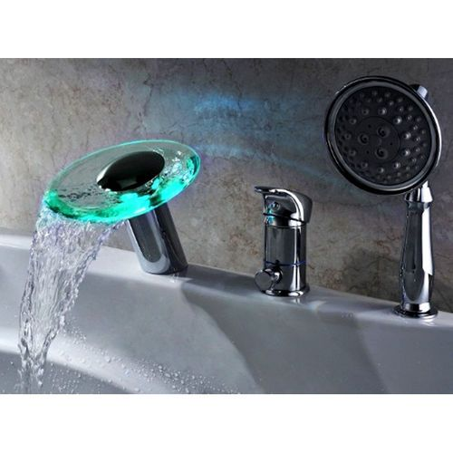 Modern LED 3 Hole Roman Tub Filler Waterfall Tub Faucet With Hand Shower  #Generic