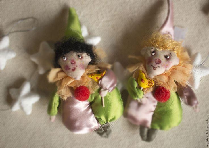 Купить Текстильная кукла Клоун - комбинированный, клоун, текстильная кукла, елочные игрушки, елочные украшения