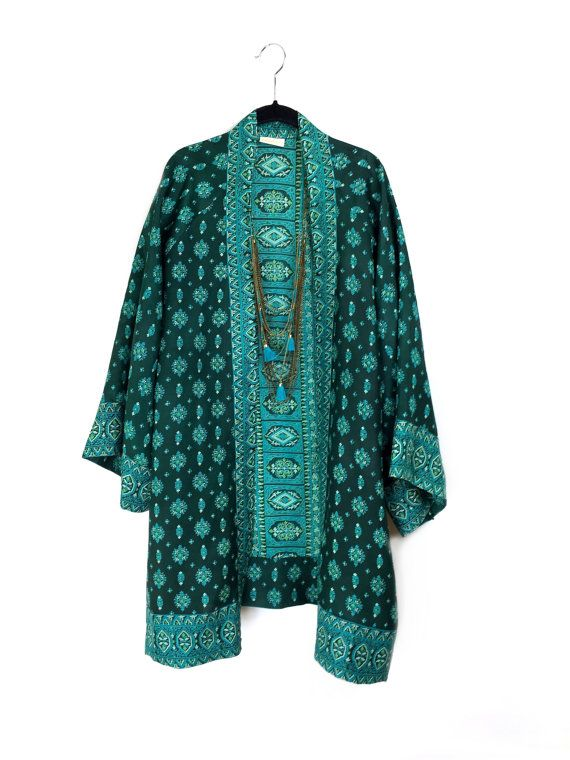 Silk kimono jacket / beach cover up / with indian paisley border print in green and turquoise