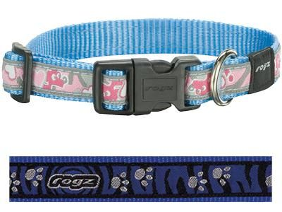 Rogz for dogs scooter halsband voor hond paws on blue zebra 16 MMX26-40 CM