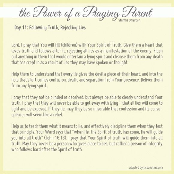 Prayers for each day of the month from the Power of a Praying Wife and the Power of a Praying Parent by Stormie Omartian