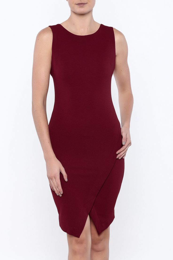 Textured burgundy bodycon dress with a round neckline. wrap front skirt and zipper closure. Textured Bodycon Dress by She & Sky. Clothing - Dresses - Cocktail Palm Beach Florida