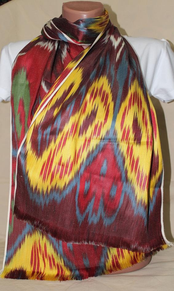 Hand Woven ikat Silk Scarf  Ikat Scarf Red  by TEXTILEGALLERY, 50.00
