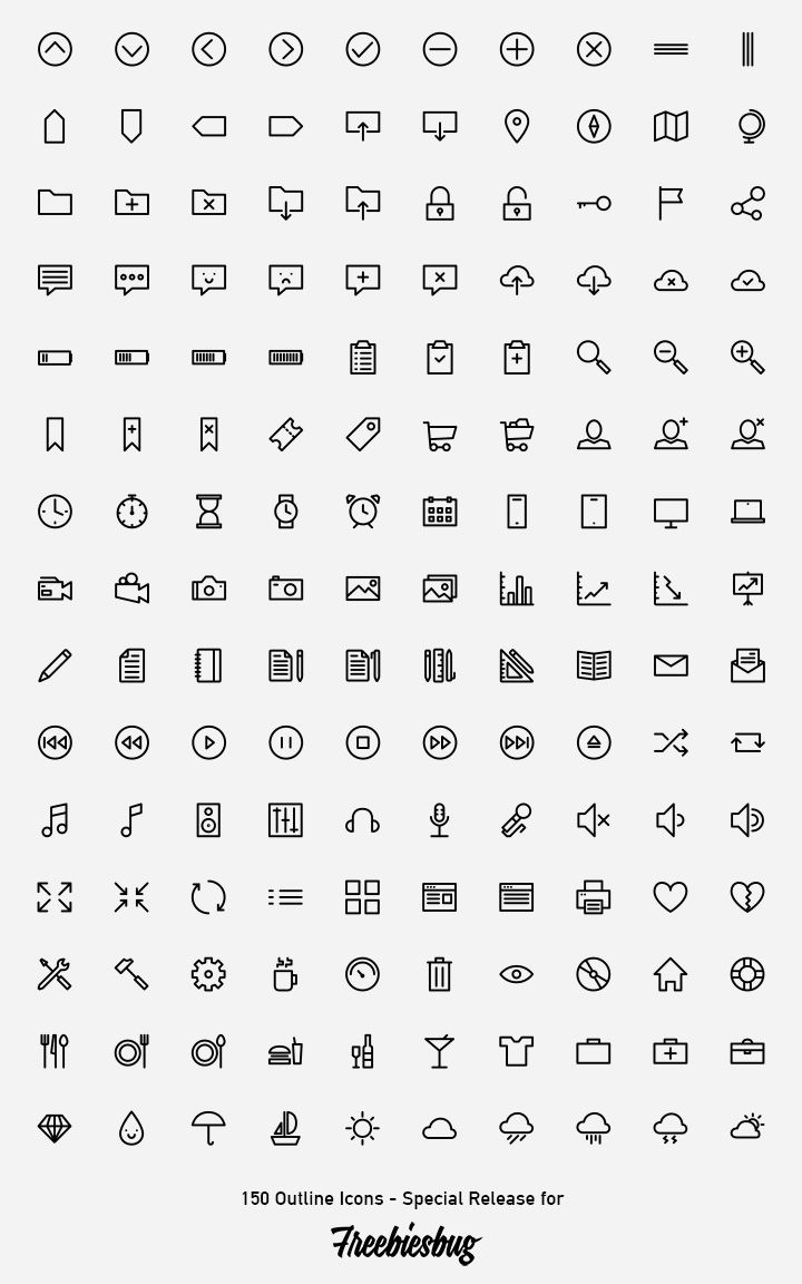 150 outlined icons :: free download