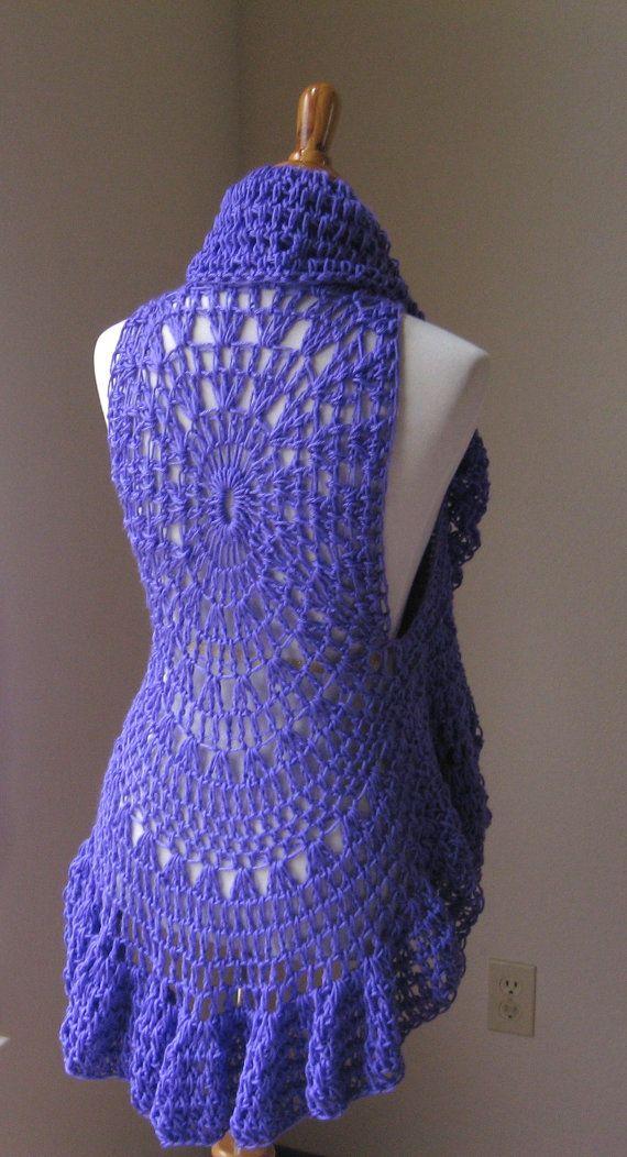 Crochet Vest Purple Hippie Crochet Vest Lace Vest By