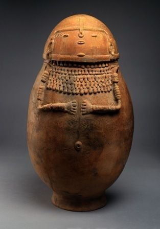 """Female-effigy ceramic burial urn, Northern Andes, Columbia, South America, 1,000–1,500 AD. 23 x 40"""" in circumference:"""