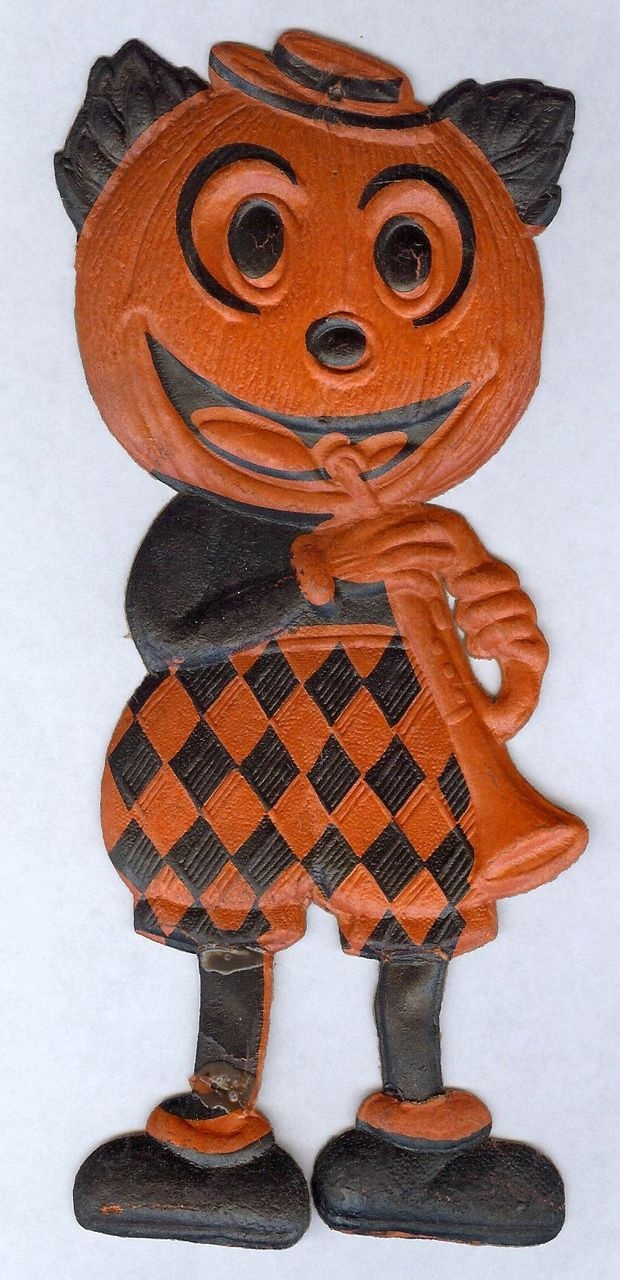 mickey mouse jack o lantern whorn cardboard halloween decoration germany in collectibles holiday seasonal halloween vintage decorations - German Halloween Decorations