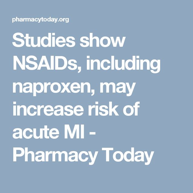 Studies show NSAIDs, including naproxen, may increase risk of acute MI - Pharmacy Today