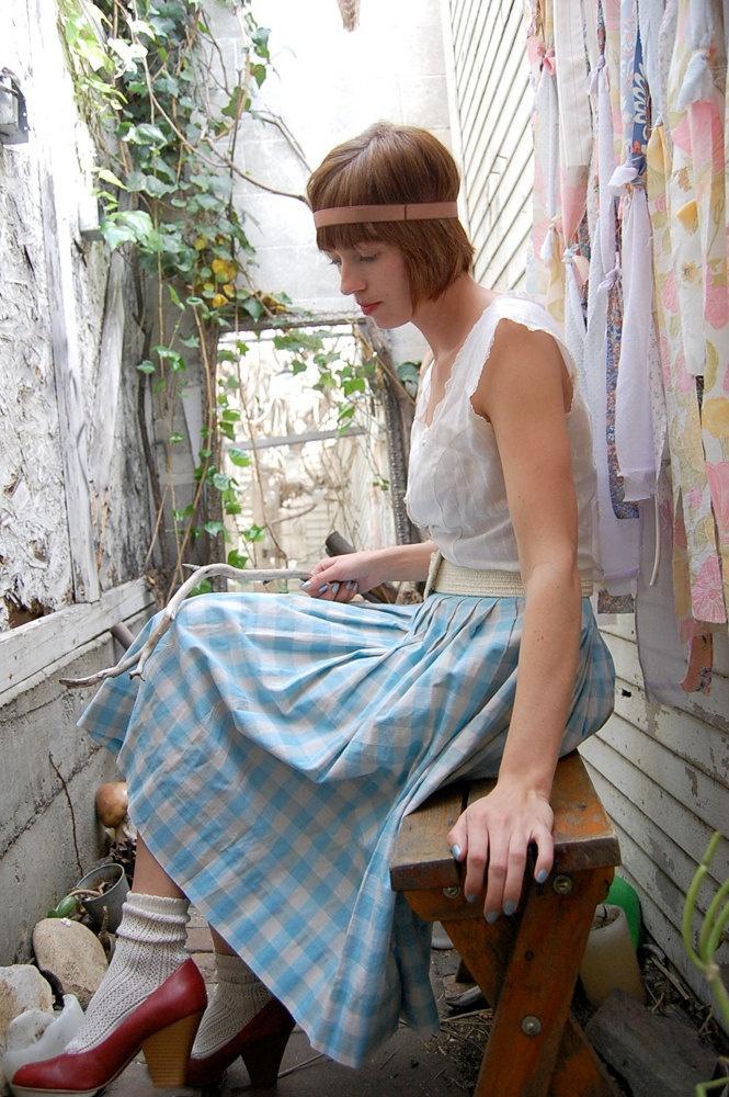 Vintage 60s Sky Blue Plaid Alice in Wonderland Preppy Pleated Skirt. via Etsy.: Clothing Ideas, Blue Farms, Plaid Skirts, 60S Sky, Alice In Wonderland, Pleated, Alice Inspiration, Plaid Alice, Blue Plaid