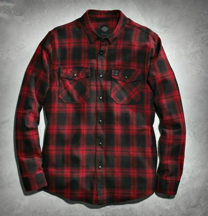 Harley davidson men 39 s red plaid flannel shirt black label for Red and white plaid shirt mens