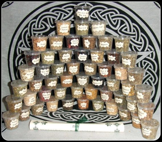 Witch Herb Set 55 Wiccan Herbs Starter Kit for Rituals Altar Work Assorted Herbs Pagan Herb Kit Wicca Herb Information Sheet Incense Herbs