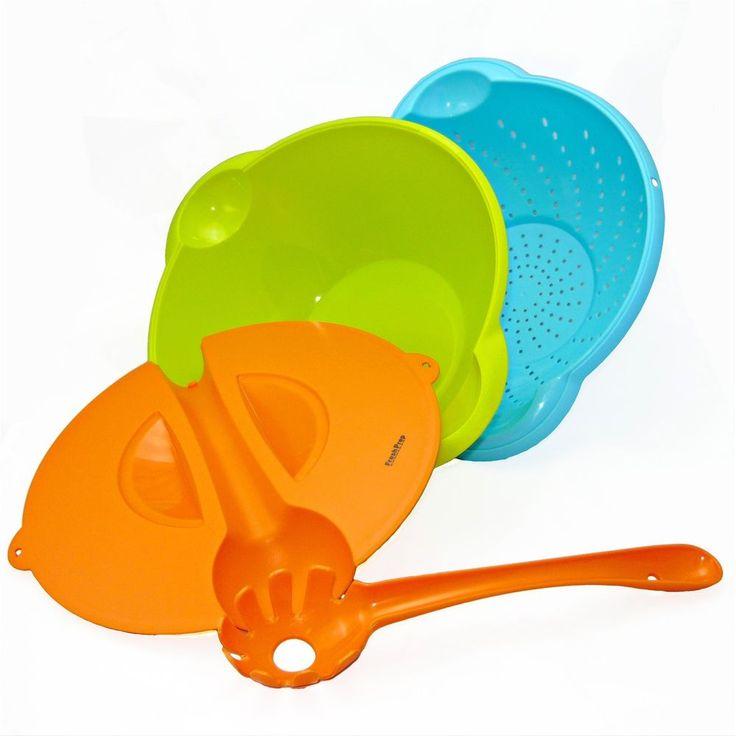 4pcs Plastic Salad Server Bowl Sieve & Lid Set,Outdoors & Space Saver Fresh Prep