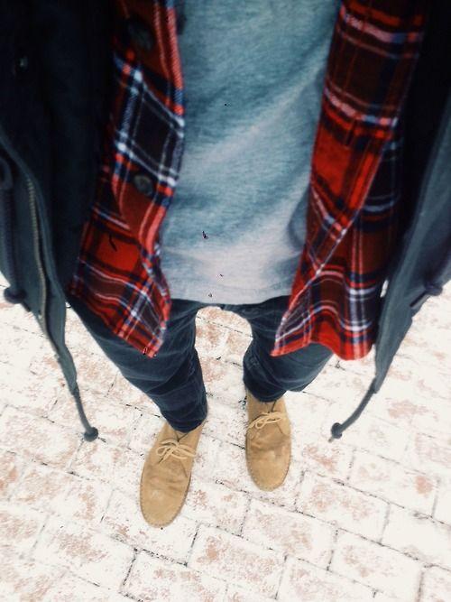 Mens fashion, check shirt, veldt skoene, jeans and tshirt