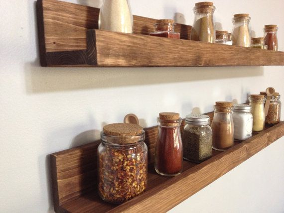 Rustic Wooden Spice Rack Ledge Shelf Ledge by DunnRusticDesigns