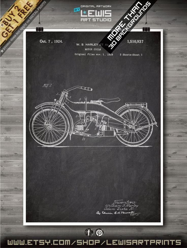Harley Davidson poster, Harley Davidson patent, Harley Davidson print, Harley Davidson Art, Harley Davidson Decor no132 by LewisArtPrints on Etsy