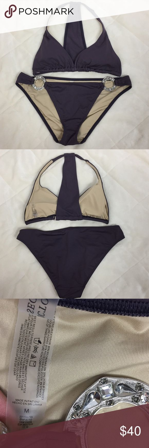 Victoria Secrets T-Back Bikini Top-L Bottom-M Wide T-Back strap on the top with a hook closure.  Light removable padding. Bottoms have large silver tone rings with bling at the hips Please see pictures for details, materials and care. B4 Victoria's Secret Swim Bikinis