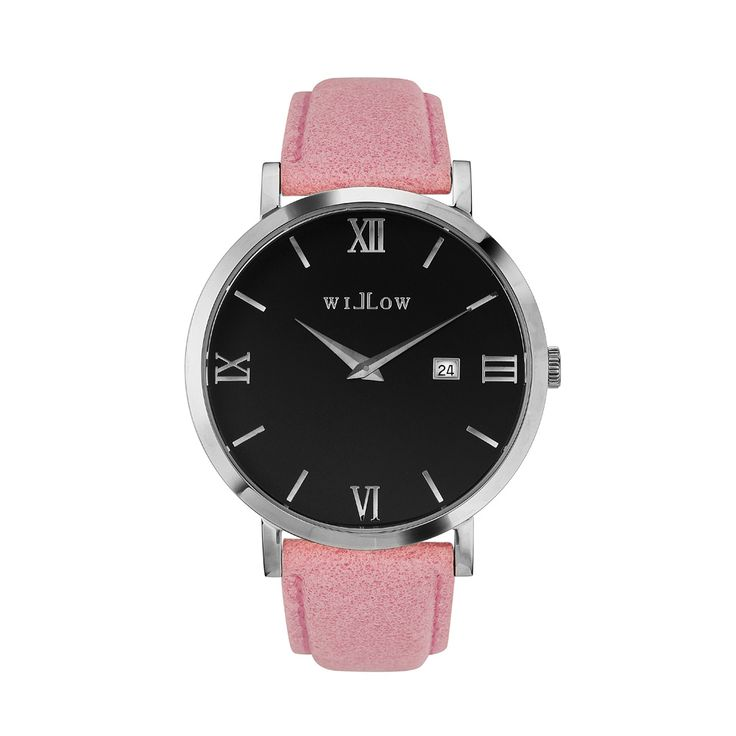 Treviso Silver Watch & Interchangeable Pink Leather Strap.