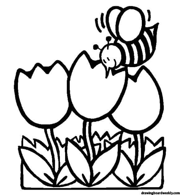 First Day Of Spring Coloring Page In 2020 Bee Coloring Pages Spring Coloring Pages Flower Coloring Pages