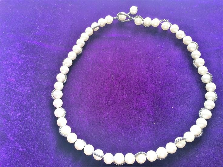 pearly beads woven with grey seed bead