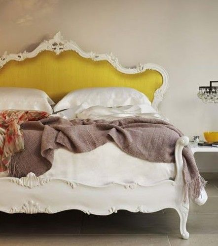 .Colors Combos, Romantic Bedrooms, Dreams Beds, Beds Room, Head Boards, Beds Frames, Upholstered Headboards, Mustardyellow, Mustard Yellow