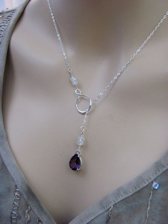 Alexandrite and Moonstone Necklace is an infinity lariat ...
