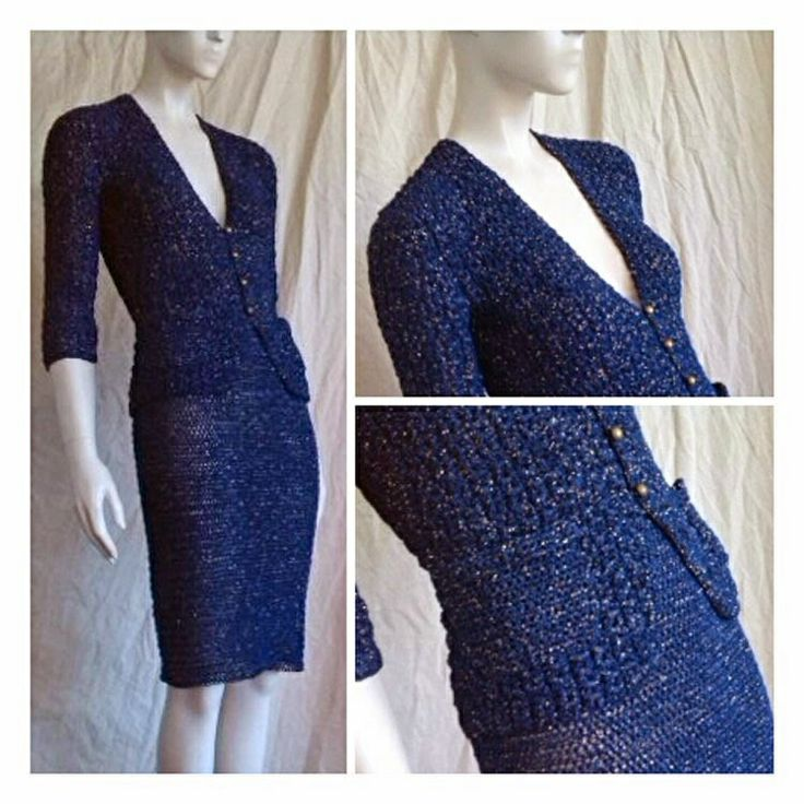 Blue and golden two piece suit in cotton and lamé.