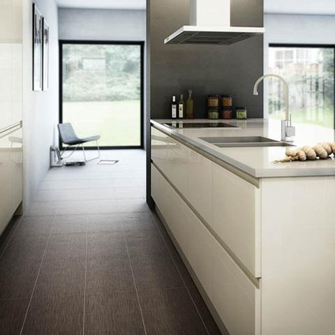 Bibury Stone high gloss handleless kitchen.   The Stone colour is very contemporary but gives a warmer feel than white. The handleless design gives a sleek minimalist modern look.   The handleless kitchen is very popular at the moment.