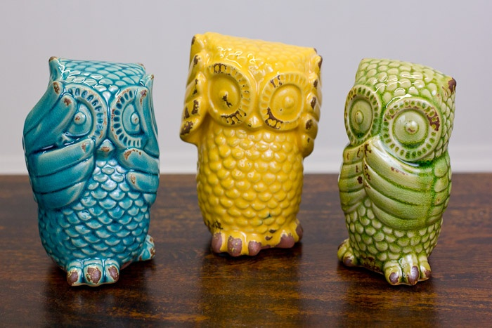 "Earthbound Trading Company - Set of three 6.5"" 'No Evil' Owls - $19.95"