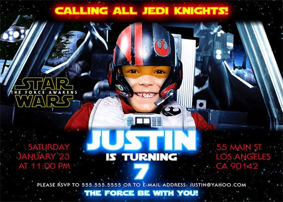 Star Wars Birthday Invitation The Force Awakens Digital